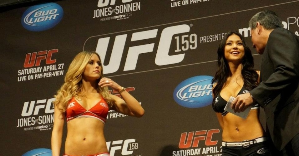 Ring girls Brittney Palmer e Arianny Celeste participam da pesagem do UFC 159