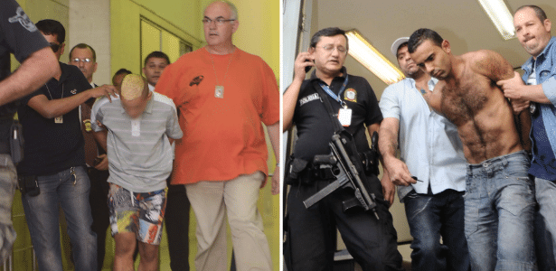 À esquerda, o menor suspeito de participar do crime e à direita, Vitor Miguel dos Santos