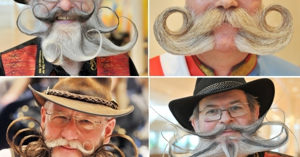 Montagem mostra participantes do Campeonato de Barba Alemo, em Pforzheim, no sul da Alemanha