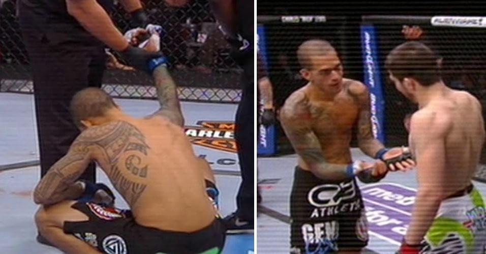 Yancy Medeiros mostra ao rival Rustam Khabilov o dedo deslocado ainda no primeiro round do UFC 159