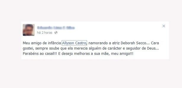 Amigo de Allyson parabenizou namoro de Deborah Secco com o cantor
