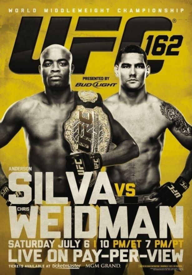 Pôster do UFC 162, que terá a disputa do cinturão dos médios entre Anderson Silva e Chris Weidman