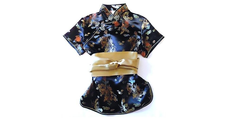 Blusa estilo quimono japonês com faixa na cintura; R$ 69,90, da Flor de Fogo