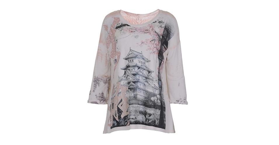 Camiseta de algodão e seda com estampa digital; R$ 399, da Tigresse
