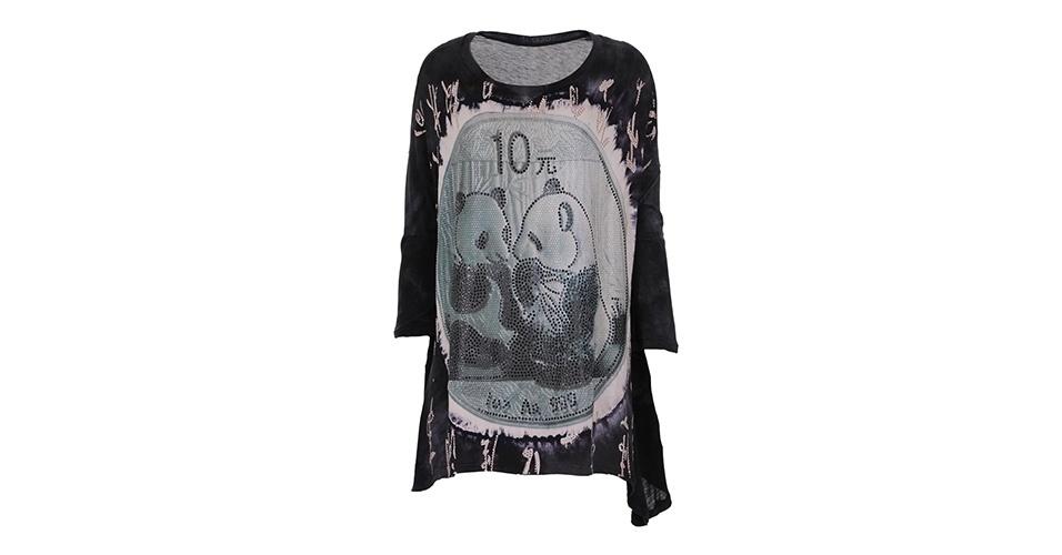 Camiseta de algodão e seda com estampa digital; R$ 453, da Tigresse