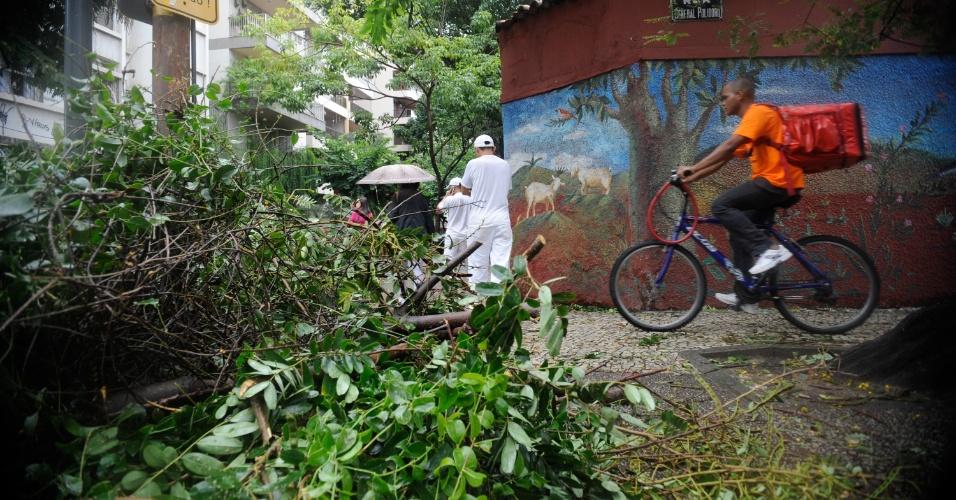 6.mai.2013 - Ciclista anda por rua obstruída por folhas e galhos de árvores após forte ventania que castigou o Rio de Janeiro. Os ventos na cidade, que chegaram a alcançar 93 quilômetros por hora (km/h), deixaram vários bairros sem luz