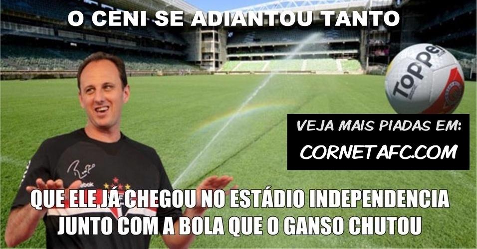 Ceni se adianta em pênalti e é zoado por rivais; veja montagens e piada no Blog Corneta FC