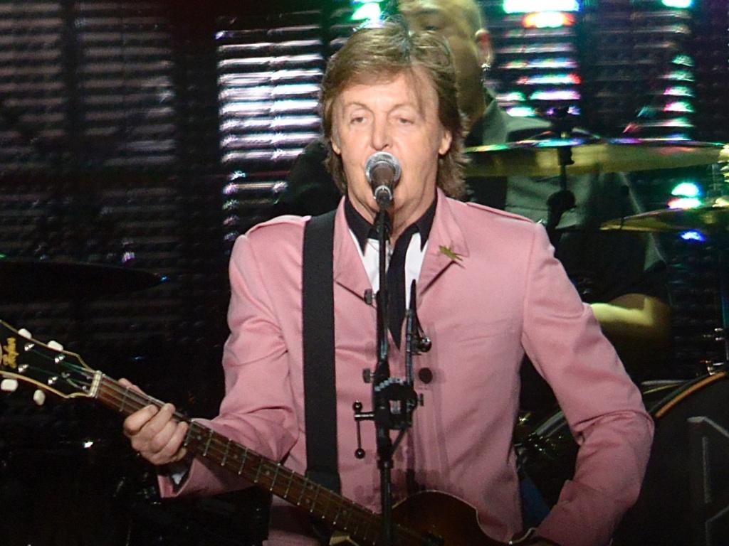 6.mai.2013 - Detalhe do gafanhoto na lapela de Paul McCartney durante o show em Goiânia