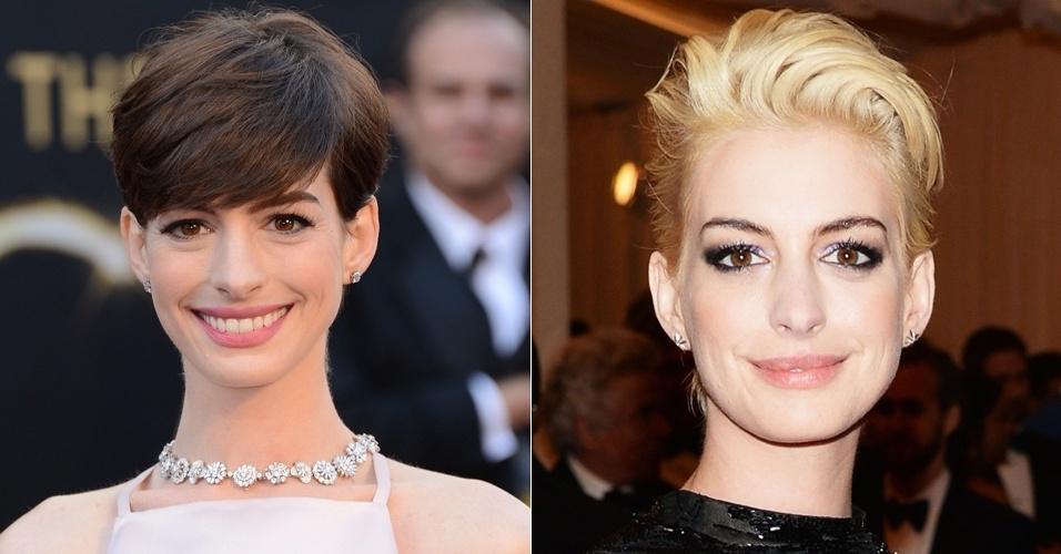 Maio: A atriz Anne Hathaway deixou para trás a imagem de boa moça e apareceu assim, totalmente platinada, no tradicional baile de gala do MET, em Nova York. O tema do evento tinha inspiração punk, e ela aliou a nova cor a um penteado de atitude mais roqueira do que costuma usar.
