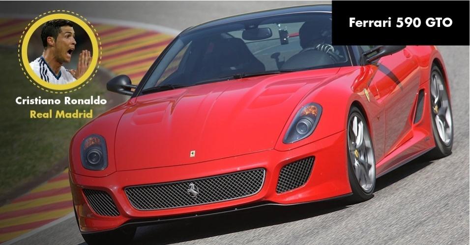 Esta Ferrari 599 GTO, do craque português do Real Madrid Cristiano Ronaldo custa a bagatela de R$ 2 milhões