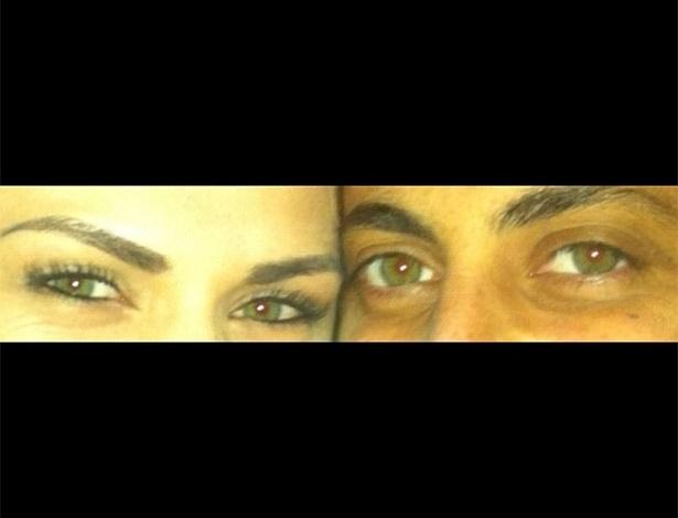 março 2013 - Nilceia Oliveira publicou uma foto dos seus olhos e também dos olhos da atriz Thammy Miranda e para se declarar publicou um trecho da letra
