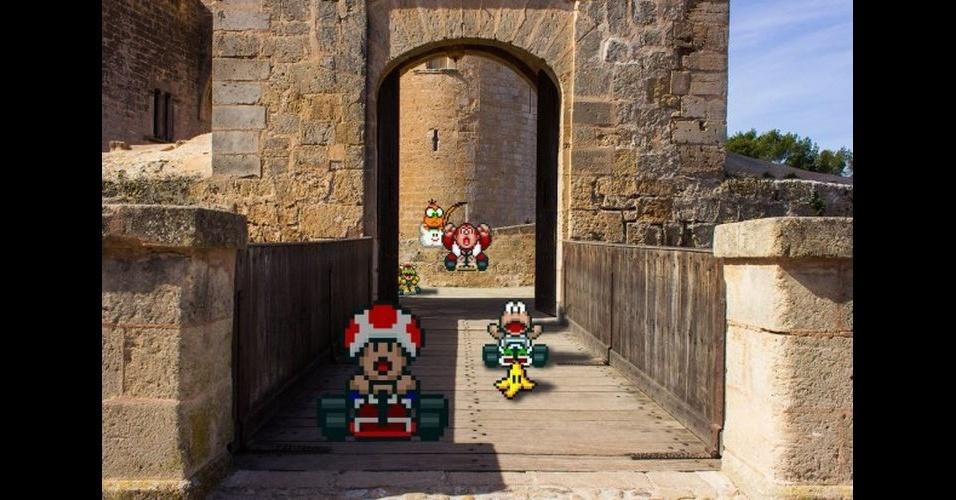 """Os designers Victor Sauron e Glauber Tanaka pegaram personagens famosos do mundo dos games em 16 bits e colocaram em cenários da vida real, usando editores de imagens. Eles procuraram usar cenários reais semelhantes com os que existem no jogo, como os macacos de """"Donkey Kong"""" em uma floresta e os carros do """"Mario Kart"""" em uma local com formato de pista de corrida. Além dos personagens, também foram inseridos outros elementos, como bananas, obstáculos e adversários"""