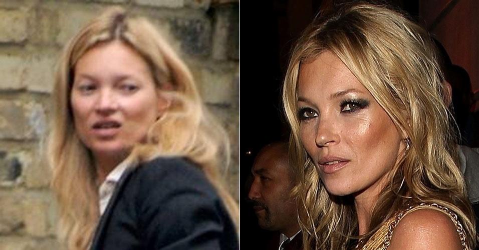 A modelo inglesa Kate Moss costuma sair pelas ruas com rosto ao natural, sem se preocupar com os papparazzi