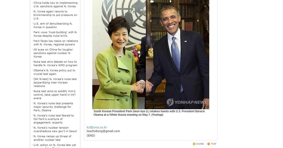 A presidente da Coreia do Sul, Park Geun-Hye, esteve nos Estados Unidos para uma visita oficial à Casa Branca. O fato foi noticiado por várias agências de notícias, inclusive pela Yonhap News, uma das mais importantes no país asiático. O que torna ainda mais incrível a mancada no Photoshop na imagem acima