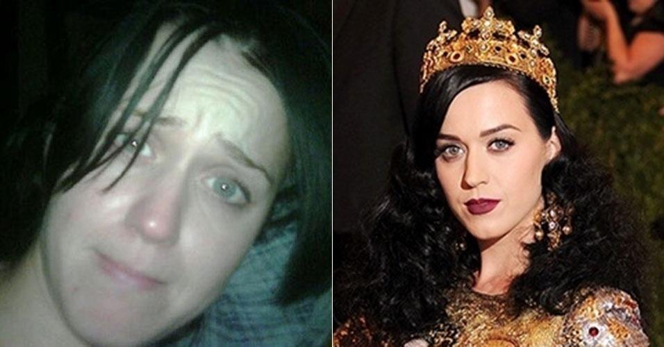Conhecida pelas maquiagens fortes e pelos cabelos chamativos, a cantora Katy Perry ficou irreconhecível em foto sem maquiagem tirada pelo ex-marido Russel Brand