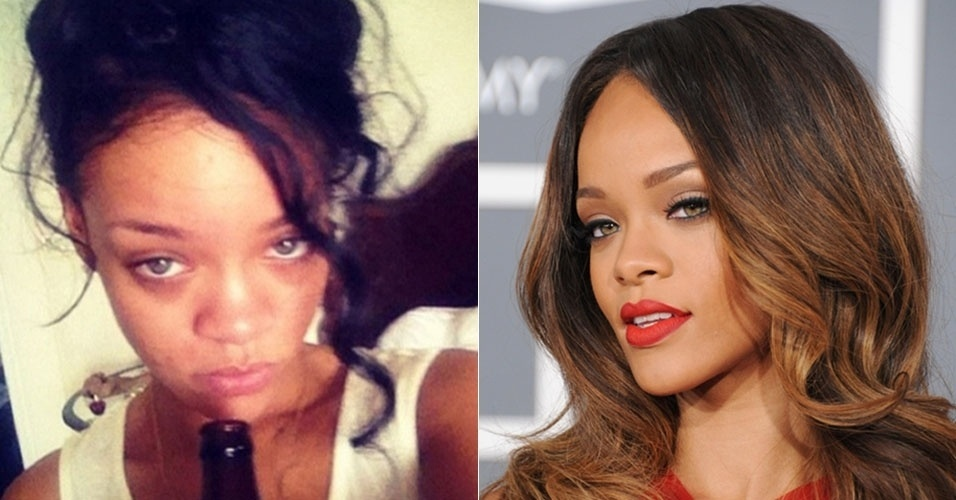 Sempre impecvel no tapete vermelho, Rihanna exibiu olheiras ao postar foto sem maquiagem no Instagram