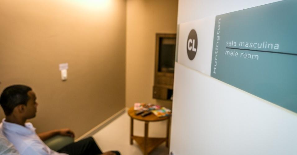sala de coleta de sêmen/espermograma - passo a passo de um tratamento fertilização assistida na clínica Huntington, em São Paulo
