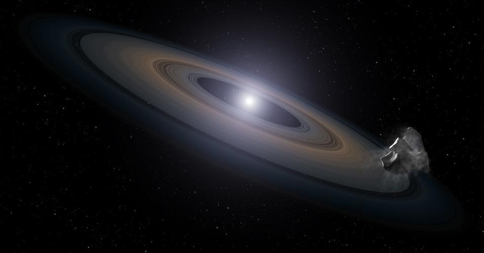 10.mai-2013 -Telescópio Espacial Hubble da Nasa (Agência Espacial Norte-Americana) descobriu elementos que permitem a criação de planetas do tamanho da Terra em um lugar improvável - a atmosfera de um par de estrelas mortas,  chamadas anãs brancas. Estas estrelas estão localizado a 150 anos-luz da Terra, em um aglomerado de estrelas relativamente jovem, Hyades, na constelação de Touro -- com apenas a 625 milhões anos. As anãs brancas estão sendo alvejadas por asteroides, que levam silício para suas atmosferas. O silício é o ingrediente principal das rochas que foram a Terra e outros planetas sólidos do Sistema Solar. Na concepção artística, a anã branca no centro, cercada por anel de poeira e um asteroide se aproximando