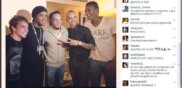 Diego Tardelli posta foto no Instagram ao lado de Bernard, Ronaldinho, Belo e Jô