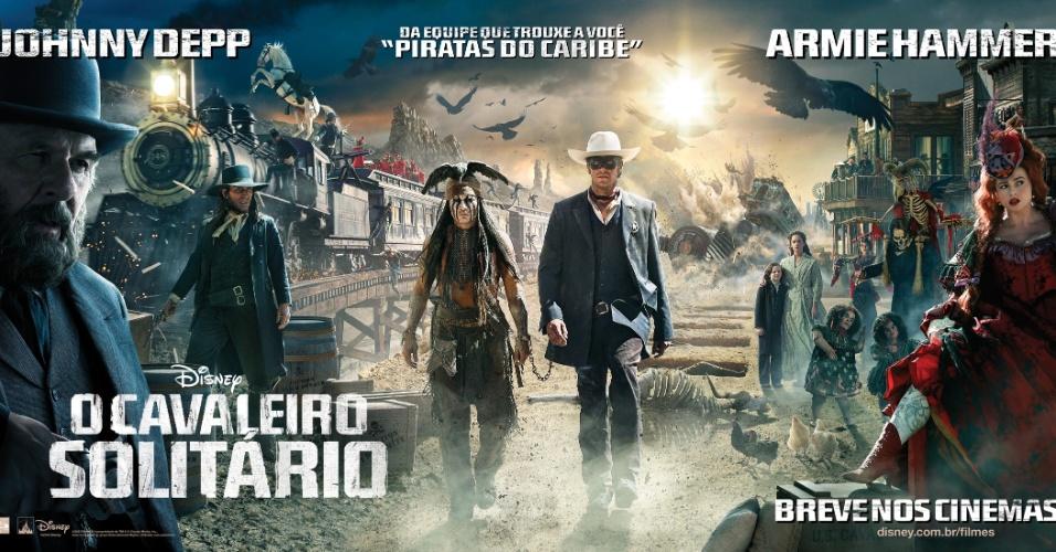 """Cartaz promocional em português de """"O Cavaleiro Solitário"""", com Johnny Depp"""