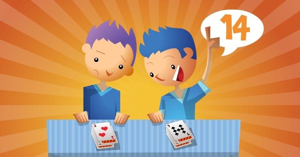 jogo com baralho batalha tabuada, para crianças a partir de 8 anos
