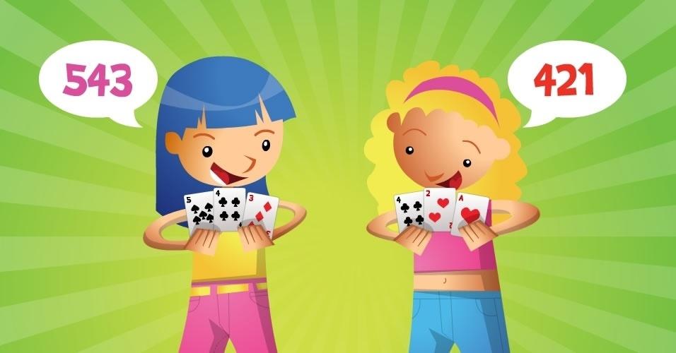 jogo com baralho Jogo das Três Cartas, para crianças a partir de 9 anos