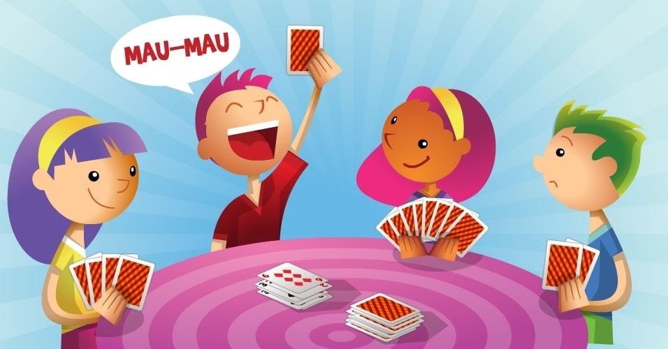 jogo com baralho Mau Mau, para crianças a partir de 6 anos