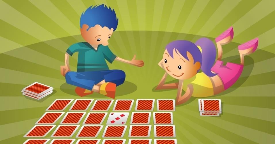 jogo com baralho Memória, para crianças a partir de 4 anos