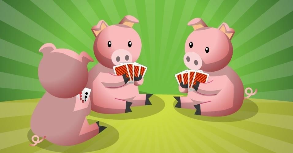 jogo com baralho Porquinho ou Dorminhoco, para crianças a partir de 5 anos