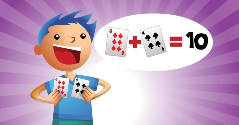 jogo com baralho Procurando 10, para crianças a partir de 5 anos