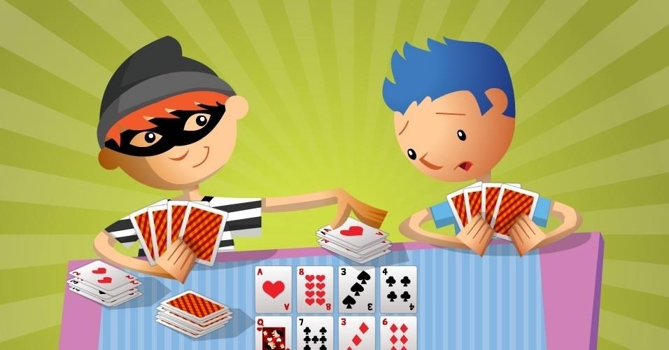 jogo com baralho Rouba-monte, para crianças a partir de 5 anos