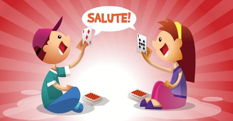 jogo com baralho Salute, para crianças a partir de 6 anos