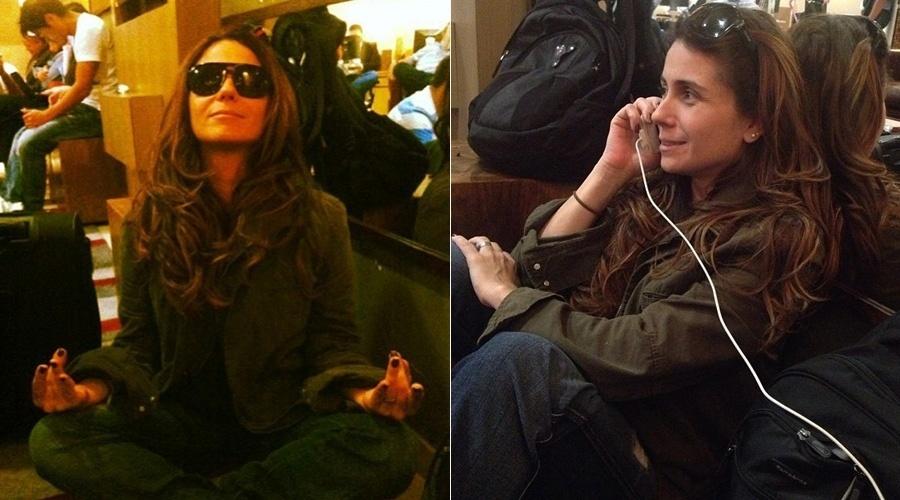 17.mai.2013 - Giovanna Antonelli resolveu meditar enquanto esperava a liberação para embarcar no voo. A brincadeira foi divulgada pela atriz por meio de sua página do Twitter. Em razão do mau tempo feito nesta terça, o aeroporto Santos Dumont, no Rio, cancelou os voos