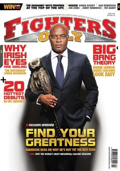 Anderson Silva  a capa da revista Fighters Only da Inglaterra, com seu cinturo e look caprichado. O brasileiro afirmou  revista que ainda no se considera o melhor lutador de todos os tempos e contou que est 