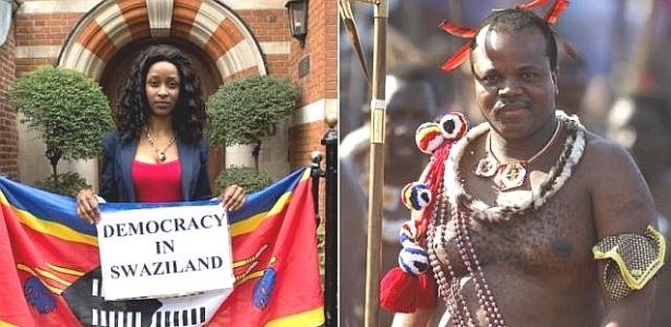 Tintswalo Ngobeni (à esq.) fugiu da Suazilândia para não ser obrigada a casar com o rei Mswati 3º (à dir.)