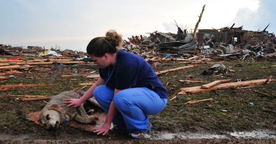 21.mai.2013 - Moradora faz carrinho em cachorro ferido durante a passagem de um tornado em Moore, nos Estados Unidos. O desastre natural causou destruição e dezenas de mortes na região