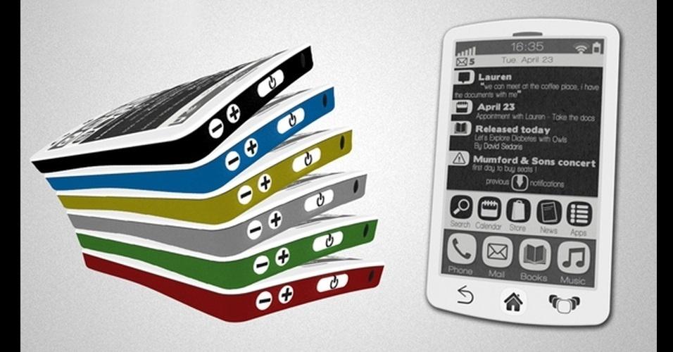 21.mai.2013 - O Booklet é um protótipo de celular que promete unir os recursos dos leitores digitais e dos celulares. O criador afirma que ele seria capaz de evitar o cansaço dos olhos durante a leitura, reproduzir músicas, fazer ligações e executar outras funções básicas. O projeto foi criado pelo designer Fabrice Dubuy e não possui previsão de lançamento ou preço