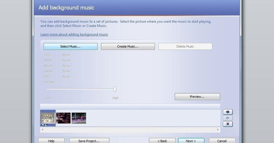 Clique em ?Select Music...? para adicionar uma música de fundo. Importante mencionar que o programa não permite edições no áudio. Ele só acrescenta uma música que já está salva no PC. Caso haja interesse em editar arquivos sonoros (para deixar a música mais curta, por exemplo), será necessário utilizar um programa específico