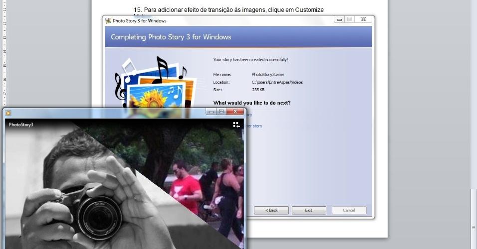 O vídeo é salvo em extensão wmv e, dessa forma, pode rodar em qualquer computador que tenha softwares compatíveis com este formato (entre eles, o Windows Media Player)