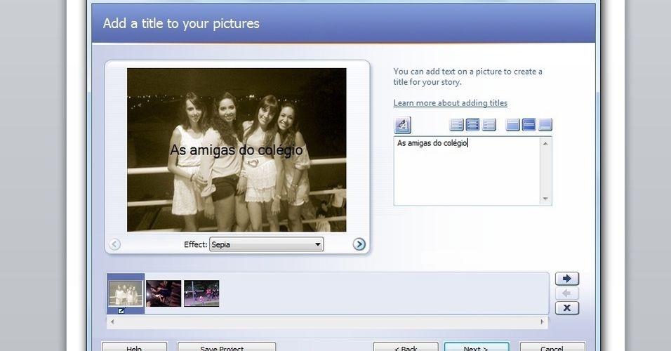 Para adicionar textos às imagens, escreva na caixa de texto do lado direito da foto