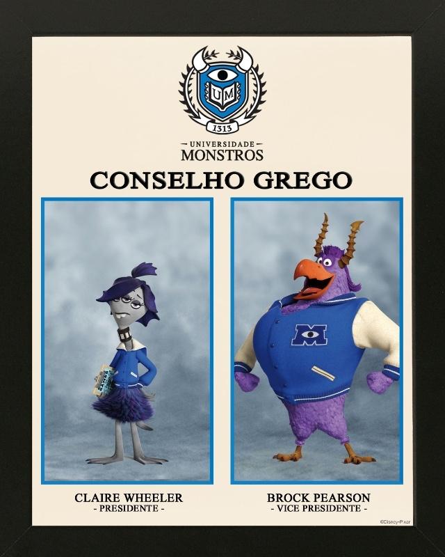 """Poster da """"Universidade Monstros"""" mostra o Conselho Grego"""