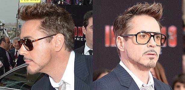 O cabelo mais comprido e modelado no topo da cabeça e o corte em camada nas laterais disfarçam bem a escassez lateral do ator norte-americano  Robert Downey Jr.