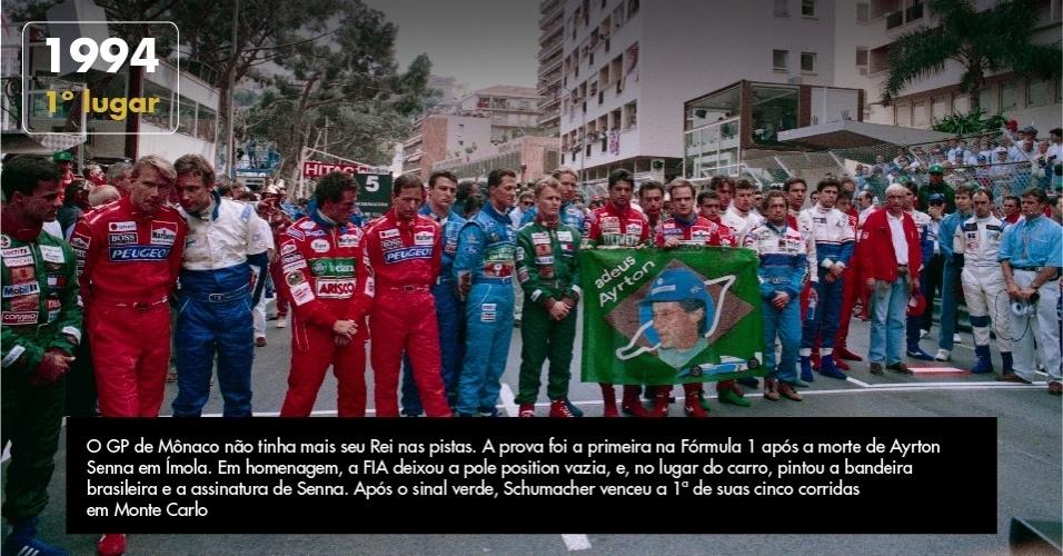 O primeiro GP de Mônaco sem Senna após 10 anos. O GP de Mônaco não tinha mais seu Rei nas pistas. A prova foi a primeira na Fórmula 1 após a morte de Ayrton Senna em Ímola. Em homenagem, a FIA deixou a pole position vazia, e, no lugar do carro, pintou a bandeira brasileira e a assinatura de Senna. Após o sinal verde, Schumacher venceu a 1ª de suas cinco corridas em Monte Carlo