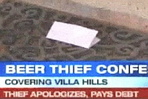 Bilhete deixado junto com US$ 140 (R$ 280) por ladrão de cerveja arrependido em cidade nos EUA
