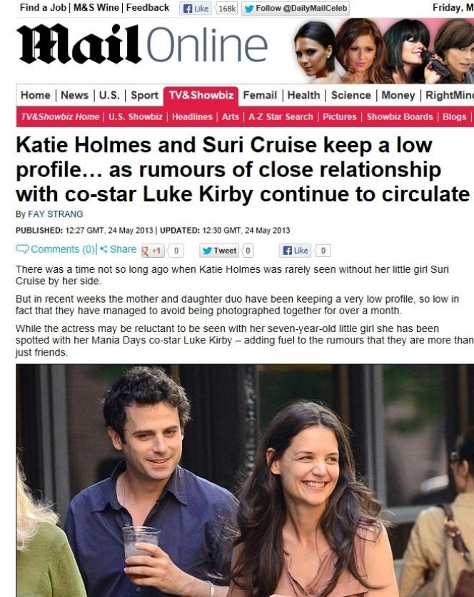 24 mai.2013 - Katie Holmes e Luke Kirby estão juntos em novo filme