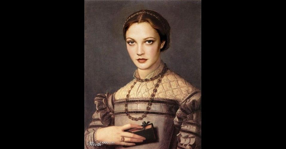 Na imagem, a atriz Drew Barrymore. O site Worth 1000 reúne imagens de celebridades que foram transformadas em pinturas do período renascentista (século 14) usando editores de imagens