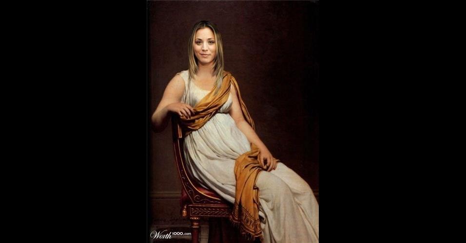 Na imagem, a atriz Kaley Cuoco. O site Worth 1000 reúne imagens de celebridades que foram transformadas em pinturas antigas usando editores de imagens
