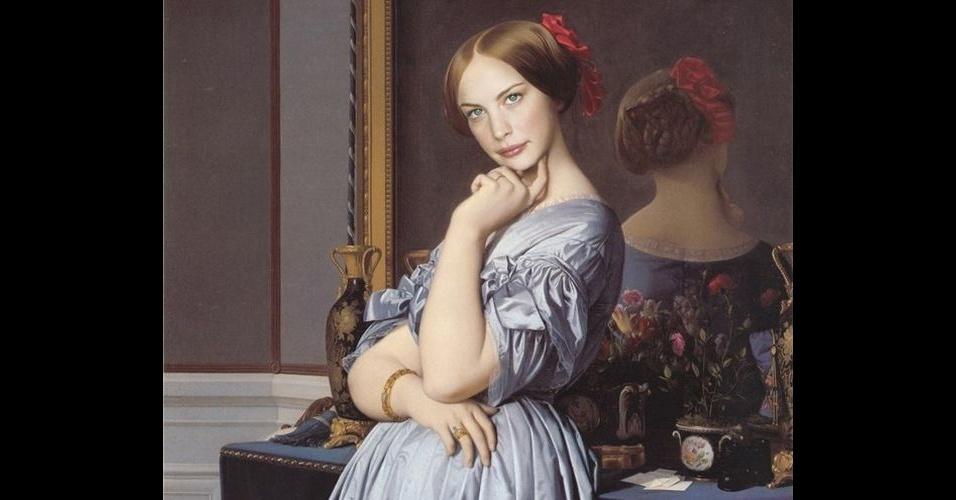 Na imagem, a atriz Liv Tyler. O site Worth 1000 reúne imagens de celebridades que foram transformadas em pinturas do período renascentista (século 14), usando editores de imagens
