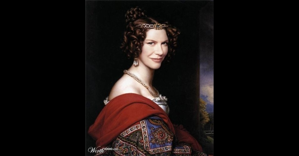 Na imagem, a atriz Nicole Kidman. O site Worth 1000 reúne imagens de celebridades que foram transformadas em pinturas do período renascentista (século 14) usando editores de imagens