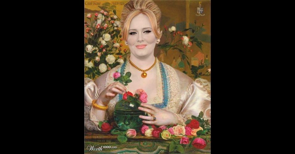 Na imagem, a cantora Adele. O site Worth 1000 reúne imagens de celebridades que foram transformadas em pinturas antigas usando editores de imagens